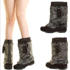 Faux Fur Suede Mid Calf Boots